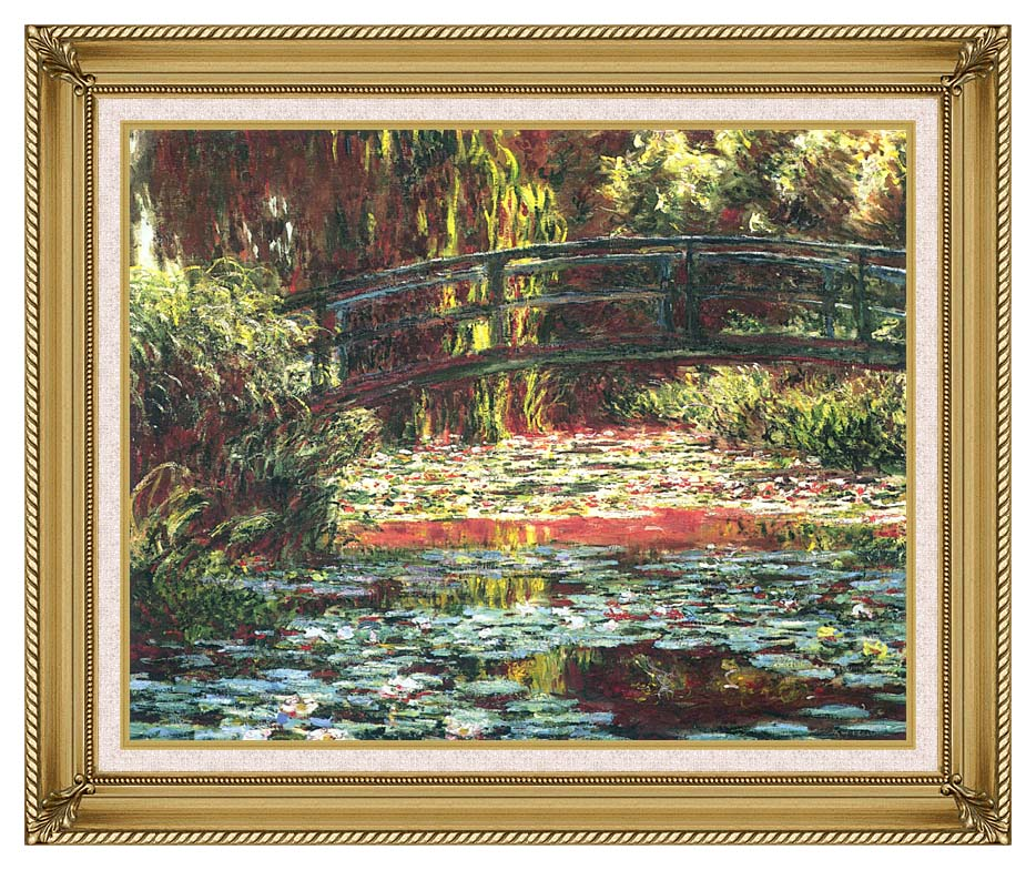 Claude Monet Japanese Foot Bridge at Giverny with Gallery Gold Frame w/Liner
