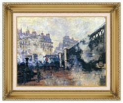 Claude Monet Le Pont De Leurope 1877 canvas with gallery gold wood frame