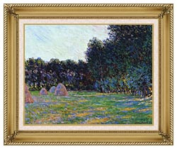 Claude Monet Meadow With Haystacks Near Giverny canvas with gallery gold wood frame