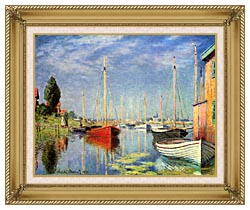 Claude Monet Pleasure Boats At Argenteuil canvas with gallery gold wood frame