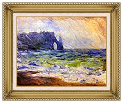 Claude Monet Rain At Etretat canvas with gallery gold wood frame