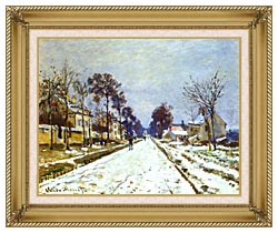 Claude Monet Road At Louveciennes Snow Effect canvas with gallery gold wood frame
