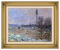 Claude Monet The Ice Floes canvas with gallery gold wood frame