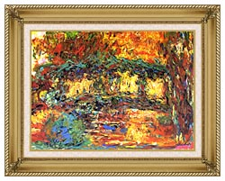 Claude Monet The Japanese Footbridge canvas with gallery gold wood frame