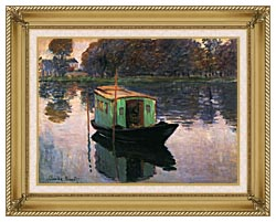 Claude Monet The Studio Boat canvas with gallery gold wood frame