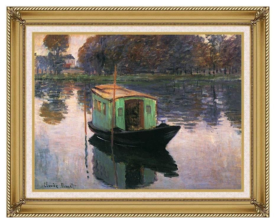 Claude Monet The Studio Boat with Gallery Gold Frame w/Liner