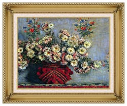 Claude Monet Vase With Chrysanthemums canvas with gallery gold wood frame