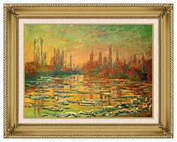 Claude Monet Floating Ice On The Seine canvas with gallery gold wood frame