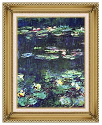 Claude Monet Green Reflection Detail canvas with gallery gold wood frame