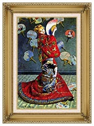 Claude Monet Madame Monet In Japanese Costume canvas with gallery gold wood frame