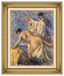 Edgar Degas After The Bath Pastel canvas with gallery gold wood frame