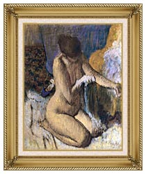 Edgar Degas After The Bath Kneeling Woman Drying Her Left Elbow canvas with gallery gold wood frame