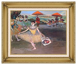 Edgar Degas Ballerina With A Bouquet Of Flowers canvas with gallery gold wood frame