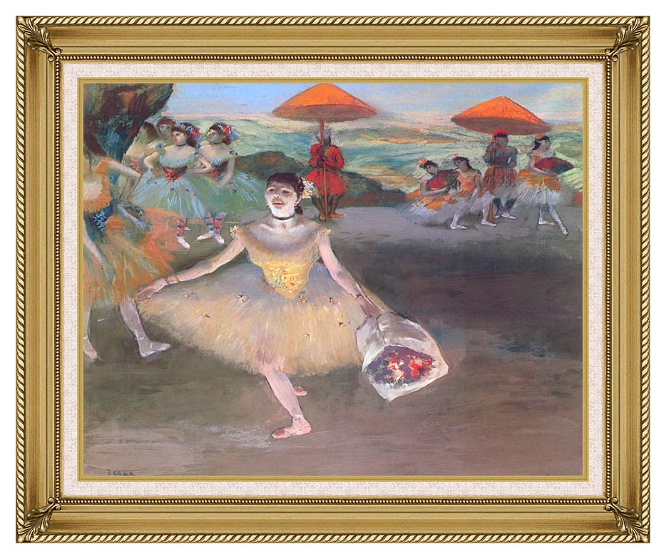 Edgar Degas Ballerina with a Bouquet of Flowers with Gallery Gold Frame w/Liner