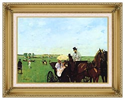 Edgar Degas Carriage At The Races canvas with gallery gold wood frame