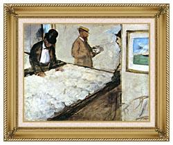 Edgar Degas Cotton Merchants canvas with gallery gold wood frame
