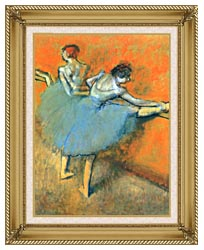 Edgar Degas Dancers At The Barre canvas with gallery gold wood frame