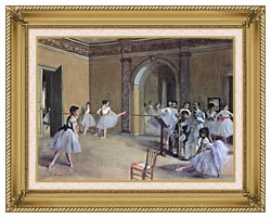 Edgar Degas Dance Foyer At The Opera In The Rue Le Peletier canvas with gallery gold wood frame