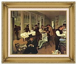 Edgar Degas Portraits In An  Office New Orleans canvas with gallery gold wood frame