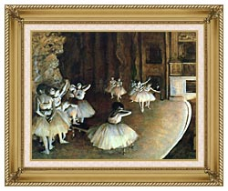 Edgar Degas Rehearsal Of A Ballet On Stage canvas with gallery gold wood frame
