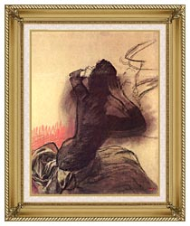 Edgar Degas Seated Woman Adjusting Her Hair canvas with gallery gold wood frame