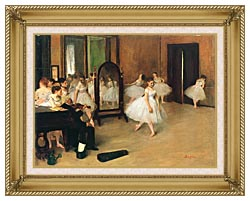 Edgar Degas The Dancing Class canvas with gallery gold wood frame