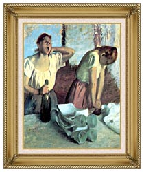 Edgar Degas The Ironers canvas with gallery gold wood frame