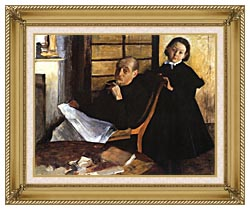 Edgar Degas Uncle And Niece canvas with gallery gold wood frame