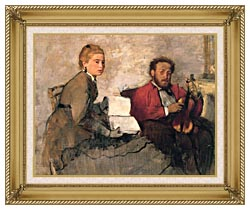Edgar Degas Violinist And Young Woman Holding The Music canvas with gallery gold wood frame
