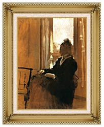 Edgar Degas Woman At A Window canvas with gallery gold wood frame