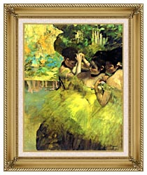 Edgar Degas Yellow Dancers In The Wings canvas with gallery gold wood frame