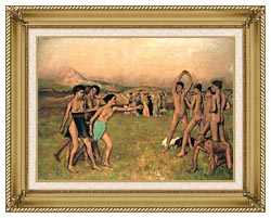 Edgar Degas Young Spartans Exercising canvas with gallery gold wood frame
