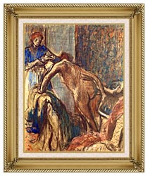 Edgar Degas Breakfast After The Bath canvas with gallery gold wood frame