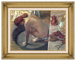 Edgar Degas Degas The Tub canvas with gallery gold wood frame