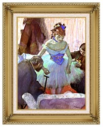 Edgar Degas Before The Entrance On Stage canvas with gallery gold wood frame