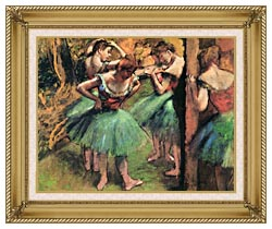 Edgar Degas Dancers Pink And Green canvas with gallery gold wood frame