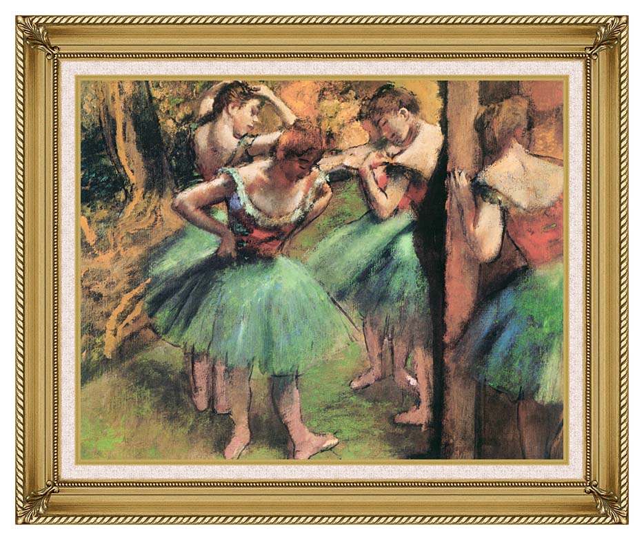 Edgar Degas Dancers, Pink and Green with Gallery Gold Frame w/Liner