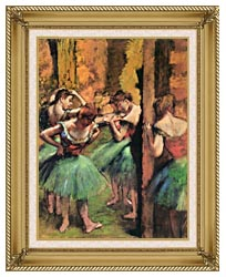 Edgar Degas Dancers In Pink And Green canvas with gallery gold wood frame