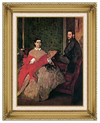 Edgar Degas Edmondo And Therese Morbilli canvas with gallery gold wood frame