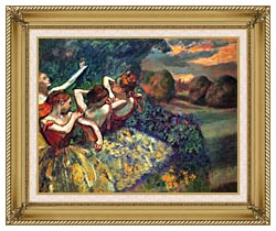 Edgar Degas Four Dancers canvas with gallery gold wood frame
