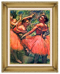 Edgar Degas Red Skirts canvas with gallery gold wood frame