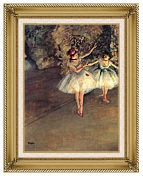 Edgar Degas Two Dancers On The Stage canvas with gallery gold wood frame