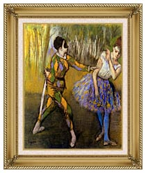 Edgar Degas Harlequin And Colombina canvas with gallery gold wood frame