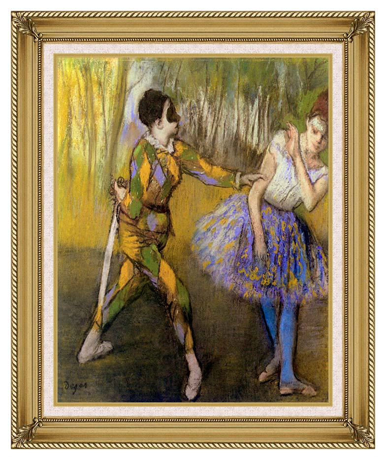 Edgar Degas Harlequin and Colombina with Gallery Gold Frame w/Liner