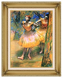 Edgar Degas Two Dancers canvas with gallery gold wood frame
