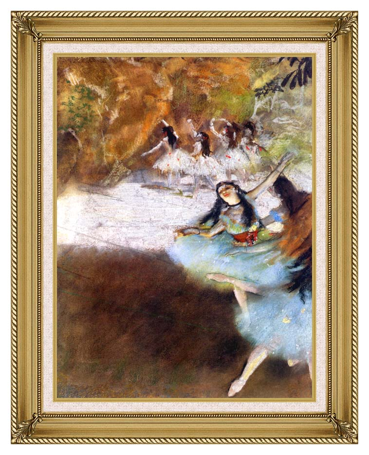Edgar Degas Ballet on the Stage with Gallery Gold Frame w/Liner