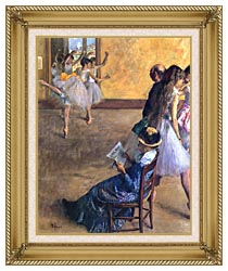 Edgar Degas The Ballet Class canvas with gallery gold wood frame
