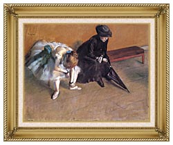 Edgar Degas Waiting canvas with gallery gold wood frame