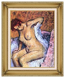 Edgar Degas Woman Sitting Drying Her Back canvas with gallery gold wood frame