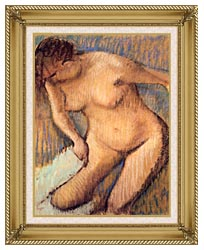 Edgar Degas Woman Drying Her Right Leg Seen From The Front canvas with gallery gold wood frame